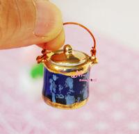 Porcelain Blue Soup Pot w/ Lid 1/12 Dollhouse Miniaturer