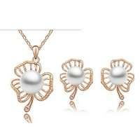 18K Gold White Gold Plated Austrian Crystal Pearl Rhinestone Fashion Jewelry Sets  1199