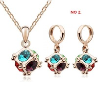 Wholesale fashion white gold plated crystal rhinestone necklace earring jewelry set make with swarovski element 1111s