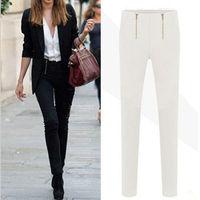 2014 New Fashion Slim Pencil Pants Women/Brand Spring Full Length Women Trousers/Casual Plus Size Women Clothing Black/ White