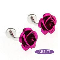 The elegant purple flower cufflinks  free shipping AB2173
