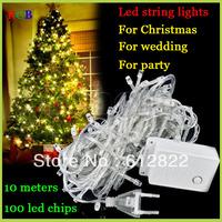 Factory directly sale 2pcs/lot LED String Light 10M 85-265V Decoration light Party Wedding Christmas lights FreeShipping