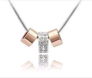 Колье-цепь CN197 Fashion Rose gold string of happy memories female Pendant Necklace B7