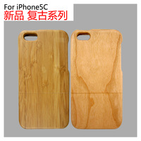 Two Wood Material For iPhone 5c Case Eco-friendly Style Shell For iPhone 5 Cherry and Carbonized Bamboo For Case iPhone 5c