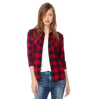 New! Cotton Plaid Shirts! Free Shipping European Classic Simple Red Plaid Blouses with Pockets Woman Long Sleeve Lady Tops111408