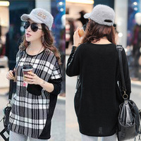 2013 autumn women's the trend of fashion o-neck medium-long loose casual long-sleeve top T-shirt
