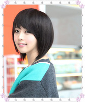 Wig short hair new female Korean hair pieces bangs short hair Women BOBO head oblique bangs wig