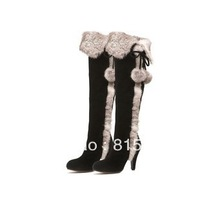 2013 winter women's boots rabbit fur boots black genuine leather high-heeled knee boots FREE SHIPPING