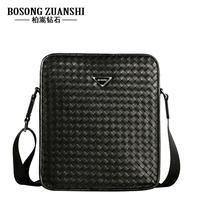 Genuine leather fashion man bag knitted 2013 cowhide messenger bag bag one shoulder handbag