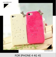 2013 Newest Bowknot TPU Back Case 3D Cat Plush Soft Cover Diamond Leather Pouch For Iphone5 5G 5S. Free shipping 10pcs