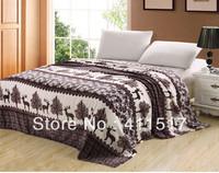 luxury luxury soft warm fleece Sofa bed throw blankets animal,deer  pattern blankets size queen/king blankets