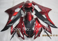 Free shipping,Cheap Yzf 600 R6 06 07 body kit For Yamaha Yzf R6 2006 2007 Race Bike Red and Black Fairings (Injection molding)