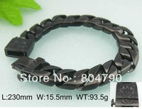 Special 230x15.5MM Heavy Thick Stainless Steel Cool Fashion Man's Curb Bracelet Black +Gift Box