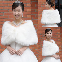 Wedding Jackets bridal women winter White shawl bride married cape mantissas faux fur wedding jackets and wraps ivory color