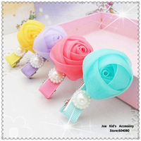Fashion Lace Rose Flower Hair Clips,Kid Girls Boutique Pearl Bobby Pins,Baby Hair Bows,FJ068+Free Shipping