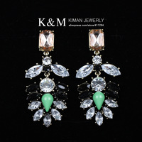 (Min order is $10) New Fashion Multicolor Rhinestone Resin Pendant Earrings Unique Design Acrylic Jewelry for  Women EA-04139