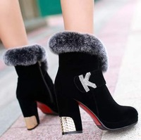 free shipping,SY43,size 34-43,artificial leather,platforms,warm lining,winter shoes women ankle boots fashion high heel boots