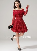 High Quality Woman's Lace Evening Dresses Ball Grown Elegant Long-sleeves D0083 Free Shipping