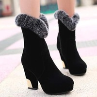 free shipping,SY44,size 34-43,nubuck leather,platforms,warm lining,winter shoes women ankle boots fashion high heel boots