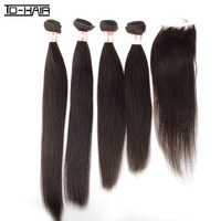 New Arrival 4 pcs Virgin Unprocessed Brazilian Straight Hair And 1pc Freestyle Lace Closure Mixed 5 pcs lot Natural Color 1B