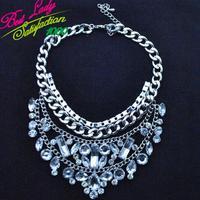 2013 European shourouk retro fashion full crystal alloy popular multi- drop sweater chain women multi-layer necklace 6646
