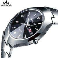 Aesop watch popular tungsten steel table waterproof fashion table men's vintage table male watch