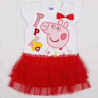 New 2014 Peppa Pig girl dress reatail, summer girl clothing, short sleeve, bow, red, 100% cotton, Free Shipping