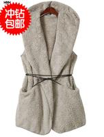 (CZ0215)Fashion Women's Oversized Thick Faux Fur Sheepskin Hollywood Hooded Vintage Vest Coat with Belt h286