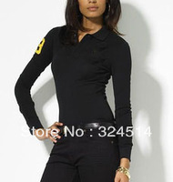 Wholesale 2013 New Style Fashion Polo T- Shirt For Women,Women's Long Sleeve big Horse Polo Shirt 100% Cotton