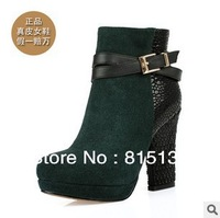 New winter first layer of leather boots Thick Heel black and green genuine leather high-heeled women's boots FREE SHIPPING