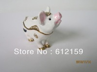 2014 Pig metal jewelry box  golden plated fashion design bejewelled free shipping cost
