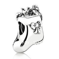 925 Sterling Silver Christmas Stocking Charm bead For Snake Chain European Bracelets #194