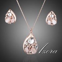 Water Drop Design Pear Cut Top Quality Stellux Austrian Crystals Necklace and Earrings Jewelry Set FREE SHIPPING!(Azora TG0053)