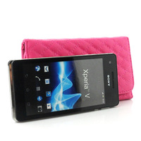 High Quality Sheepskin Leather Wallet cover case For Sony Xperia V LT25i Free Shipping 02
