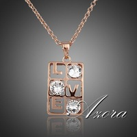 Love Design Rose Gold Plated Three Clear SWA Element Austrian Crystal Pendant Necklace FREE SHIPPING!(Azora TN0052)
