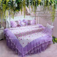 Dream princess round bed piece set purple round bed bedding package side bed bedding