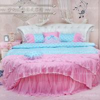 Dream round bed four piece bedding set princess bedding home textile blue polka dot