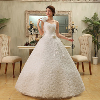 new arrival sweet princess wedding qi one shoulder bride wedding dress spaghetti strap flower