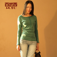 2013 cotton slim round neck T-shirt female long-sleeve color block decoration and a half open front t1328 basic shirt