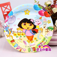 Children's birthday cake plates carton picture ecological krafty paper 18 cm 30pcs/lot Free Shipping