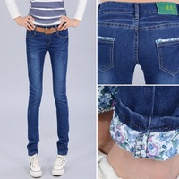 2013 Hot Selling Fashion Woman Jeans Slim-fitting Pencil Cotton Jeans Narrow Leg Stretch Pencil Skinny Tight Jeans
