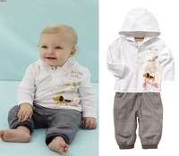 Autumn male child pattern with a hood top stripe trousers set kids clothing sets
