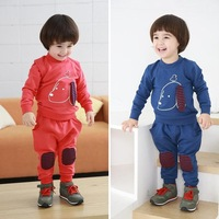 Autumn male child sports casual set 2 pcs boys / girl clothing sets