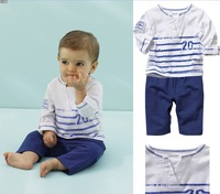 Autumn male child blue stripe long-sleeve set kids clothing sets