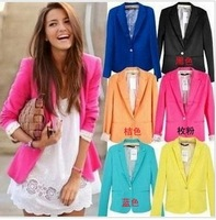 BNWT Women's Foldable Sleeve Blazer Jacket candy Color Lined Striped Z Suit Cardigan Single Button Cotton Coat Free shipping