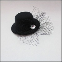 JW027 black little hat with veil hair ornament  for party and porm fashion short face veil
