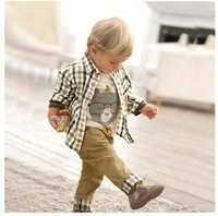 Free Shipping  autumn baby clothes set boy 3 pcs suits t-shirt+shirt+kids pants children outerwear clothing set Christmas gifts