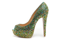 Size:35-41 Red Bottom 14cm Heels,Green Rhinestone Patent Leather Peep Toe Sandals,Women's 2013 New Designer Summer Pump Shoes