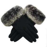 Classic - female winter wool cashmere thickening double layer thermal oversized rabbit velvet fur looply gloves