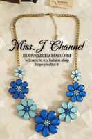 Simni accessories blue acrylic gem luxury flower short necklace female